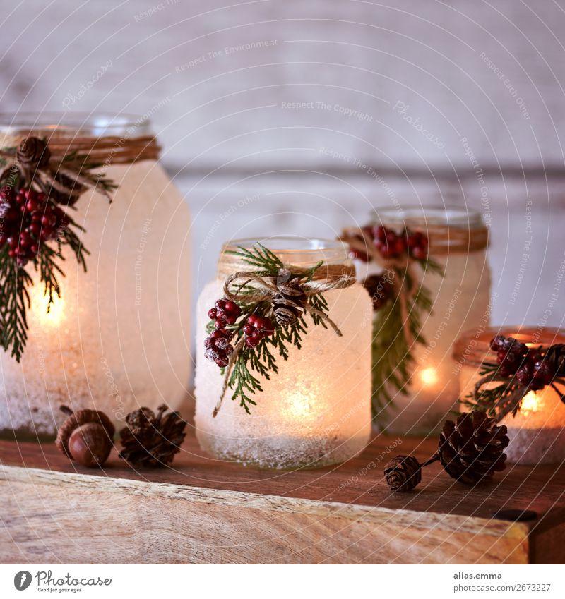 Weihnachtliche Winterlaternen - Upcycling Weihnachten & Advent Laterne Lampion Windlicht Dekoration & Verzierung Glas Frost Basteln 4 festlich Dezember