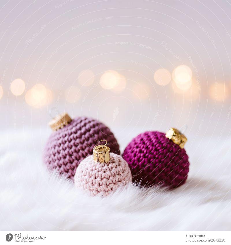 Weihnachtskarte mit gehäkelten Weihnachtskugeln Weihnachten & Advent Postkarte Christbaumkugel Wolle Handarbeit stricken häkeln weich alternativ