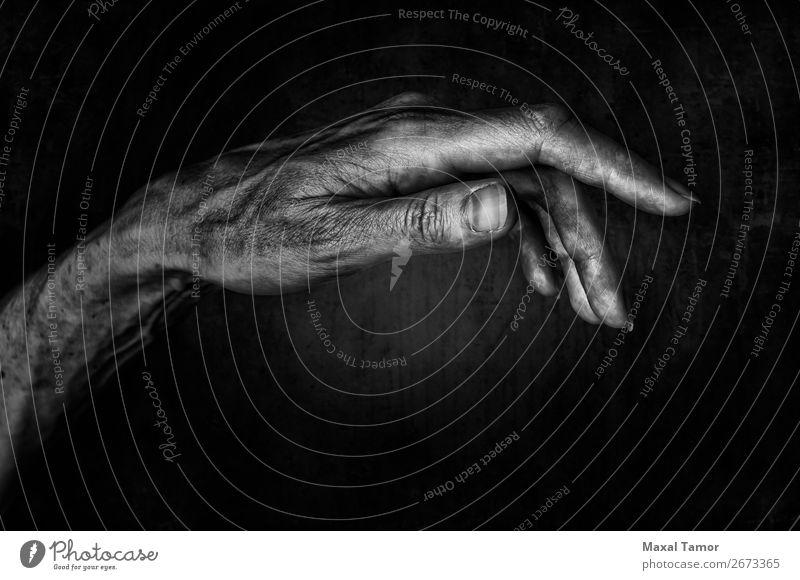 Frauenhand elegant schön Körper Haut Mensch Erwachsene Arme Hand Finger alt dunkel natürlich stark weich schwarz Kraft Aktion Hintergrund Pflege Kaukasier