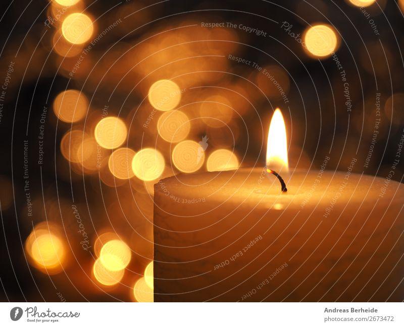 Burning candle with Christmas lights Winter Musik Feste & Feiern Weihnachten & Advent Kerze Tradition Hintergrundbild ball band bauble baubles beautiful bright