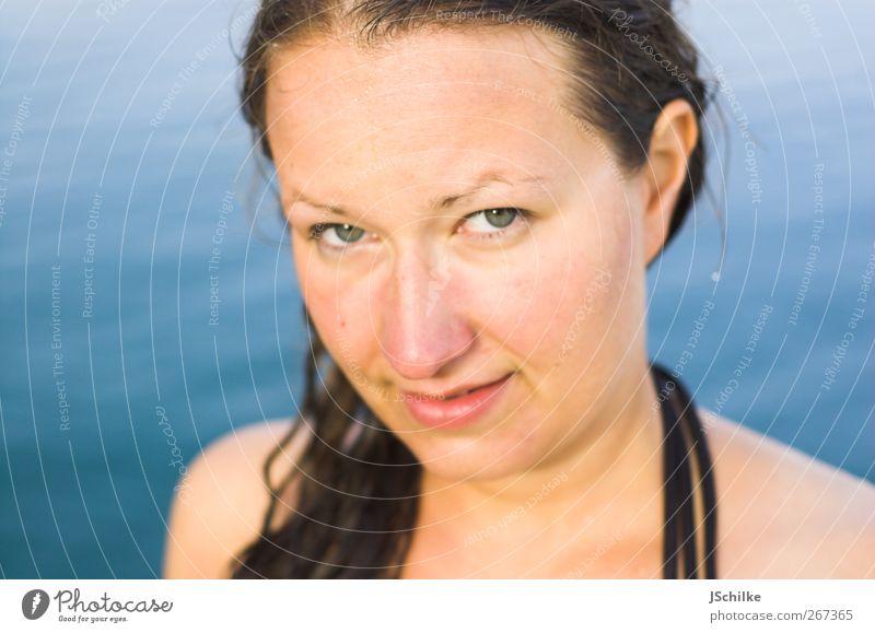 special holiday moment Mensch Jugendliche blau Wasser schön Ferien & Urlaub & Reisen Meer Sommer ruhig Erwachsene Auge feminin Erotik Haare & Frisuren Kopf