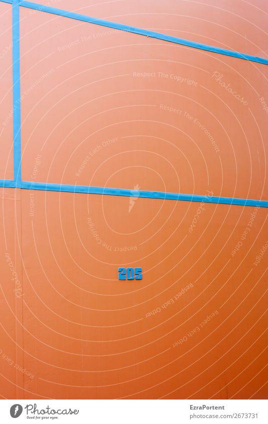 Block Stadt Haus Bauwerk Gebäude Architektur Mauer Wand Fassade Zeichen Ziffern & Zahlen Linie blau orange Design 205 Rahmen Strukturen & Formen graphisch
