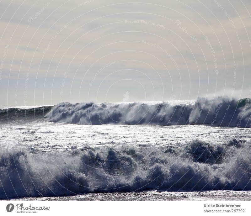 Brecher II Natur Urelemente Wasser Himmel Wellen Küste Meer Atlantik Insel Fuerteventura Bewegung bedrohlich frisch wild Kraft Brandung Gischt Energiewirtschaft