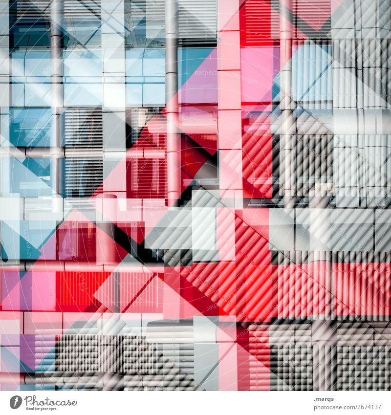 4 Lifestyle elegant Stil Design Architektur Fassade Fenster Linie außergewöhnlich Coolness trendy einzigartig modern blau grau rot Ordnung Perspektive