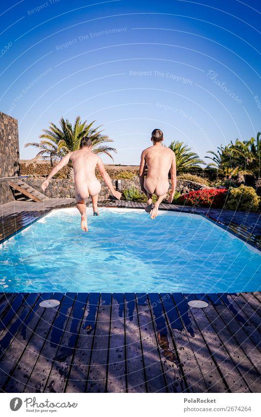 #AS# friendship IV Mensch maskulin Junger Mann Jugendliche 2 Kunst Freude Glück Fröhlichkeit nackt Schwimmbad Männerkörper Gesäß Sonne Clique Sexualität