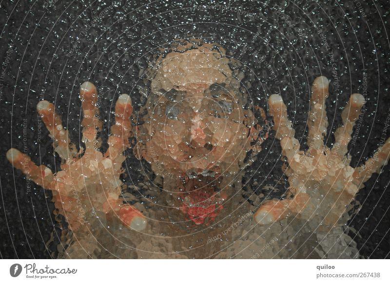 Angst Mensch Jugendliche Hand Gesicht Auge Kopf Angst maskulin Junger Mann gefährlich verrückt Finger bedrohlich berühren gruselig Wut