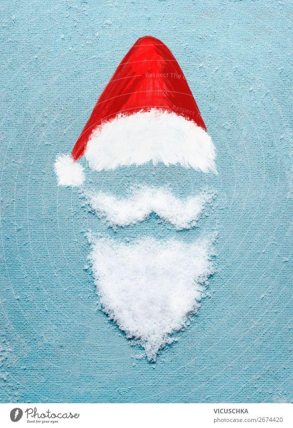 Weihnachtsmann mit Schnee Bart und Weihnachtsmütze Weihnachten & Advent Winter Feste & Feiern Stil Party Design Dekoration & Verzierung Zeichen