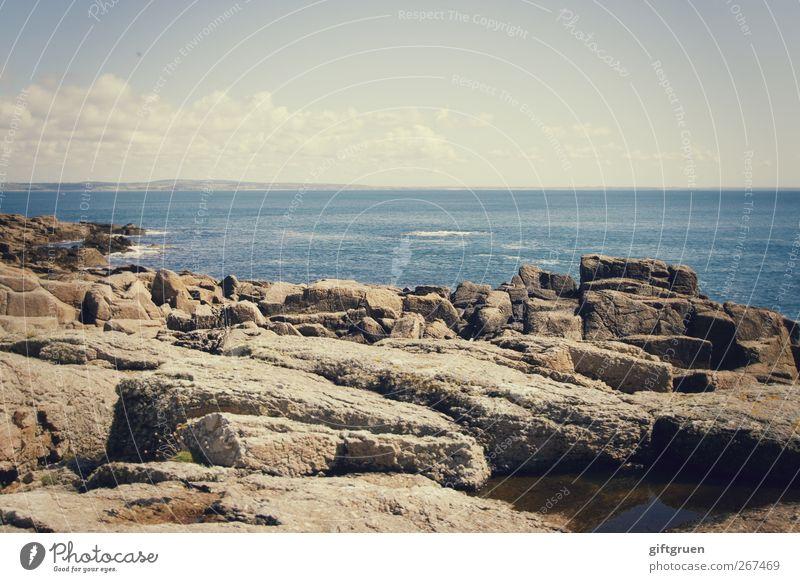 sommer.sonne.meer Umwelt Natur Landschaft Urelemente Erde Wasser Himmel Wolken Horizont Schönes Wetter Felsen Wellen Küste Meer blau Cornwall England