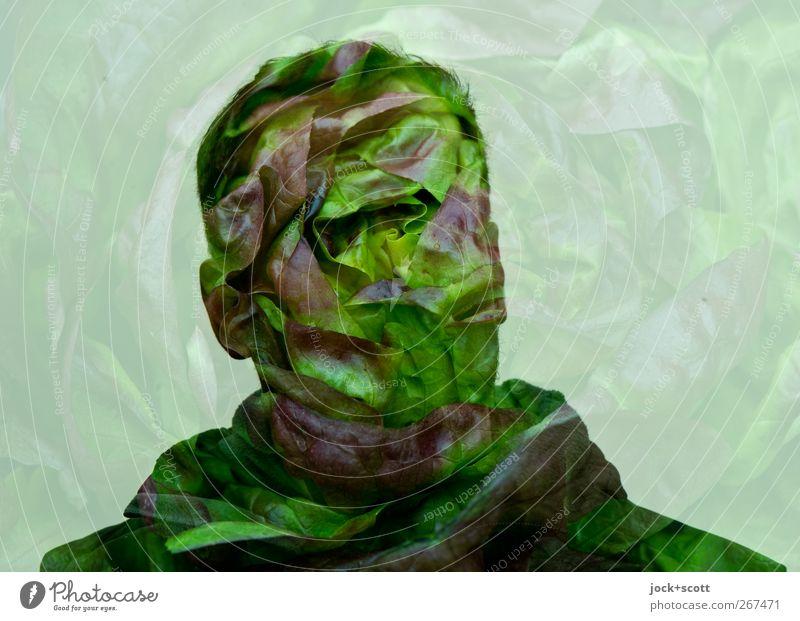 Salatkopf Kopfsalat Ernährung Kunst Denken außergewöhnlich frisch Gesundheit lecker natürlich grün Doppelbelichtung Surrealismus Comic Illusion Phantasie