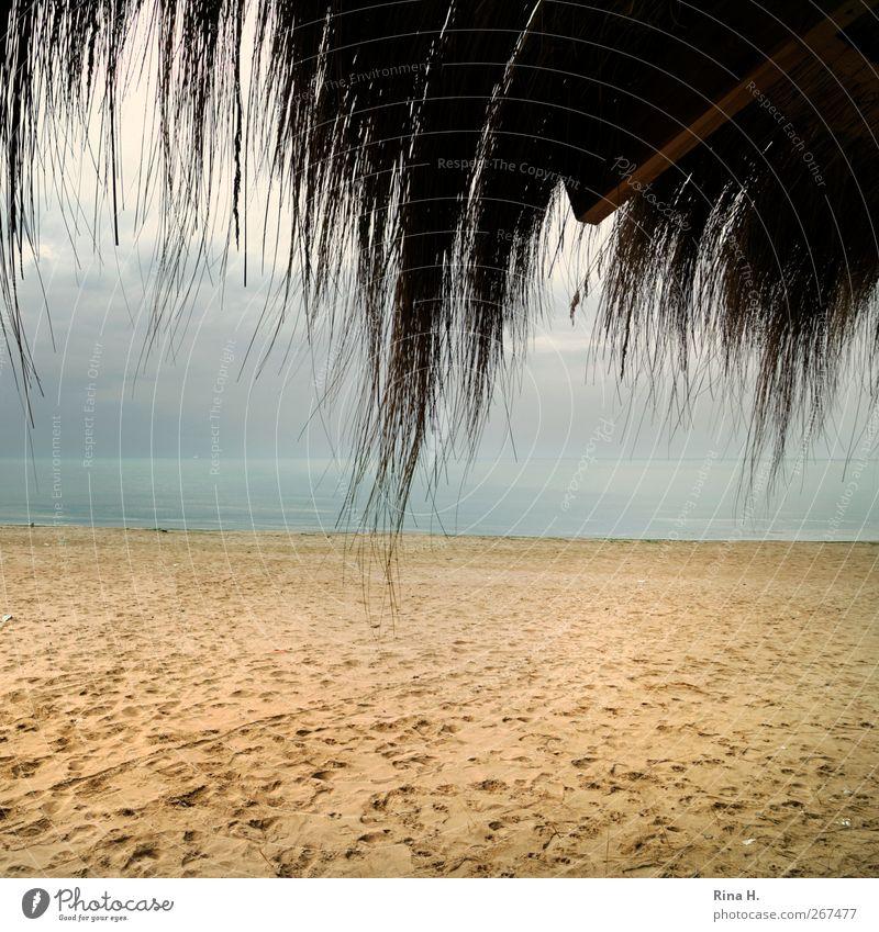 SaisonEnde Natur Ferien & Urlaub & Reisen Meer Strand Wolken Landschaft Herbst Küste Horizont natürlich Tourismus Dach Idylle Schutz Unwetter Hütte