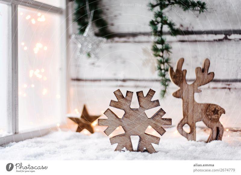 Weihnachtlich, winterlicher Hintergrund mit Textfreiraum Weihnachten & Advent Hintergrundbild Winter Fenster Postkarte Holz Dekoration & Verzierung altehrwürdig
