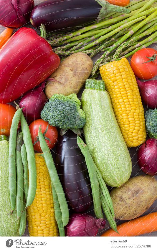 Obst und Gemüse Lebensmittel Frucht Ernährung Vegetarische Ernährung Diät Gesundheit mehrfarbig gelb grün rot Zucchini Tomate Mais Zwiebel Hintergrundbild