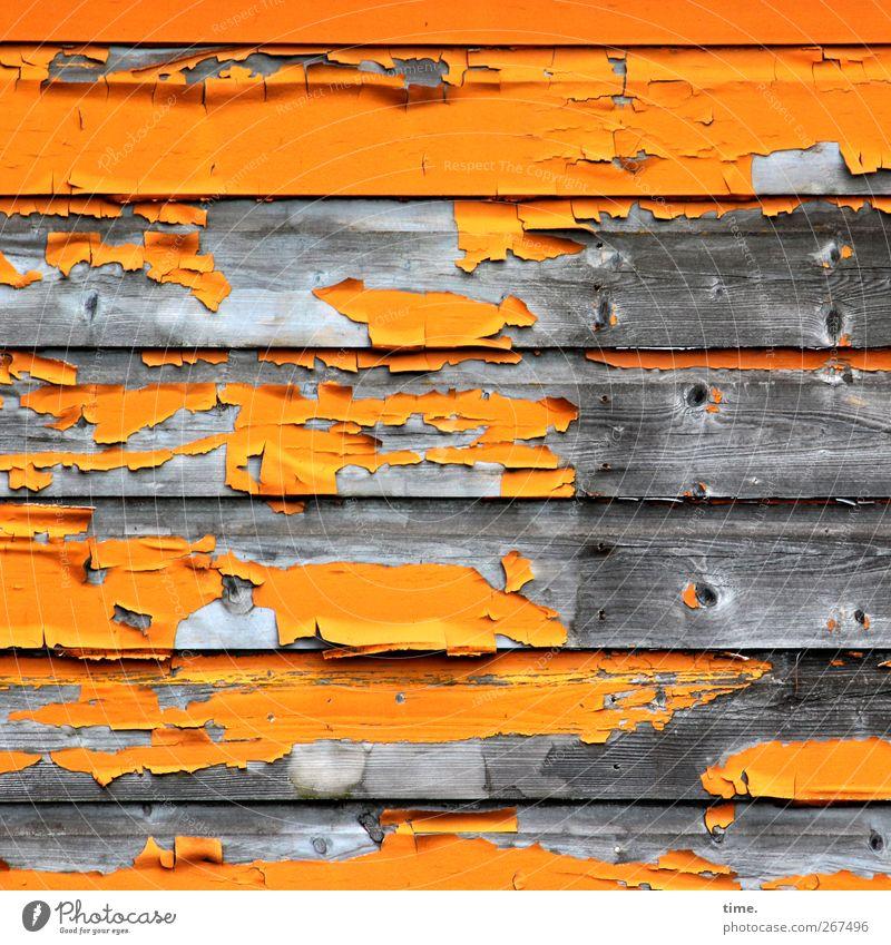 verlebt alt Wand Holz Mauer Fassade dreckig kaputt Wandel & Veränderung Vergänglichkeit Verfall trashig parallel Verzweiflung Desaster beweglich Schwäche