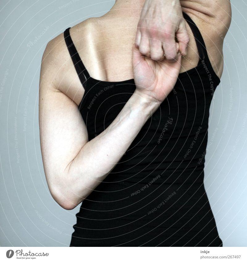 Frühsport mit photocase Körper sportlich Fitness Freizeit & Hobby Sport-Training Sportler Dehnübung Erwachsene Leben Rücken 1 Mensch Top festhalten stehen