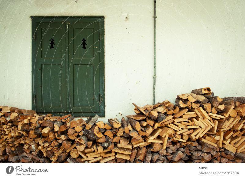 Der Winter war kurz Häusliches Leben Landwirtschaft Forstwirtschaft Umwelt Klima Mauer Wand Fassade Fenster Holz authentisch einfach grün Ordnung Umweltschutz