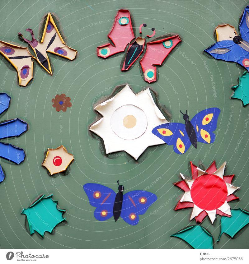 Kreativwerkstatt Kunst Ausstellung Kunstwerk Blatt Blüte Mauer Wand Schmetterling Dekoration & Verzierung Kitsch Krimskrams Sammlung Kunststoff Zeichen Ornament