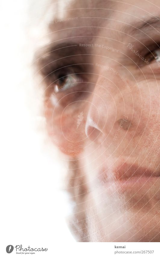 Meds Mensch Frau Erwachsene Auge feminin Leben Kopf Traurigkeit hell Mund Nase nachdenklich durcheinander Doppelbelichtung Irritation Nervosität
