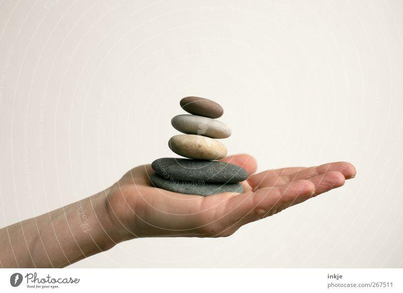 Hochstapler harmonisch Erholung ruhig Meditation Freizeit & Hobby Spielen Leben Hand Kieselsteine Stein Stapel Turm festhalten liegen hoch natürlich rund