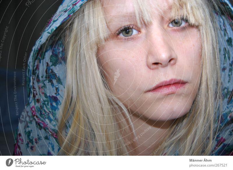 Guten Morgen Mensch feminin Junge Frau Jugendliche Erwachsene Haut Kopf Nase Mund Lippen 1 18-30 Jahre Stoff Kopftuch blond langhaarig Pony Gefühle Stimmung