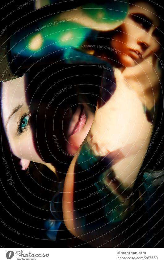 projektion 1 Mensch Erotik Projektion Beamer Fantasygeschichte mehrfarbig verrückt Rauschmittel Porträt grün Auge außergewöhnlich schön Farbfoto
