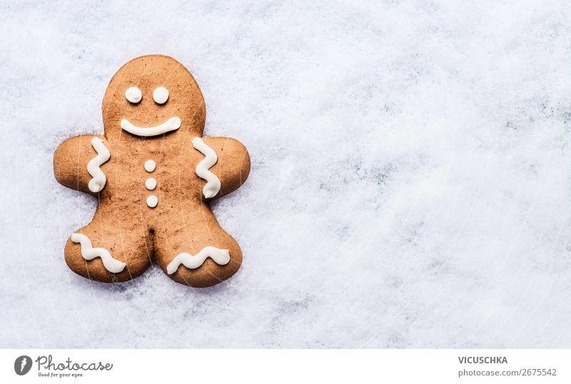 Lebkuchenmann auf Schnee Lebensmittel Teigwaren Backwaren Schokolade Ernährung Festessen kaufen Stil Design Winter Party Veranstaltung Feste & Feiern