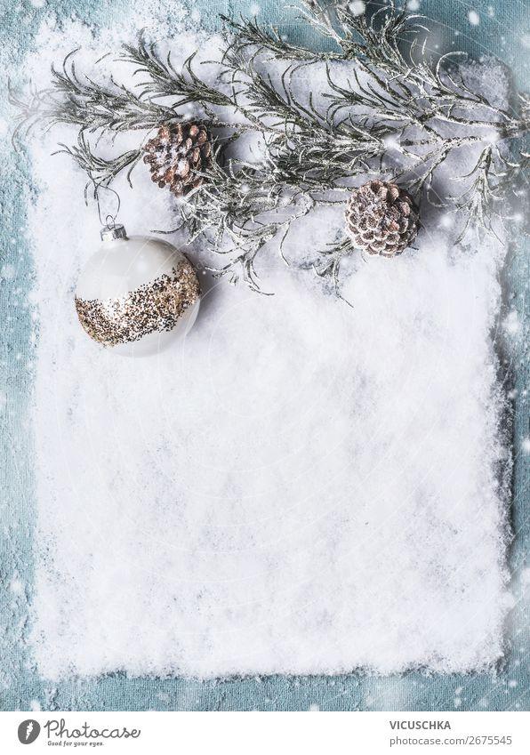 Weihnachten Hintergrund mit Schnee und Kugel Stil Design Winter Party Veranstaltung Feste & Feiern Weihnachten & Advent Dekoration & Verzierung Ornament