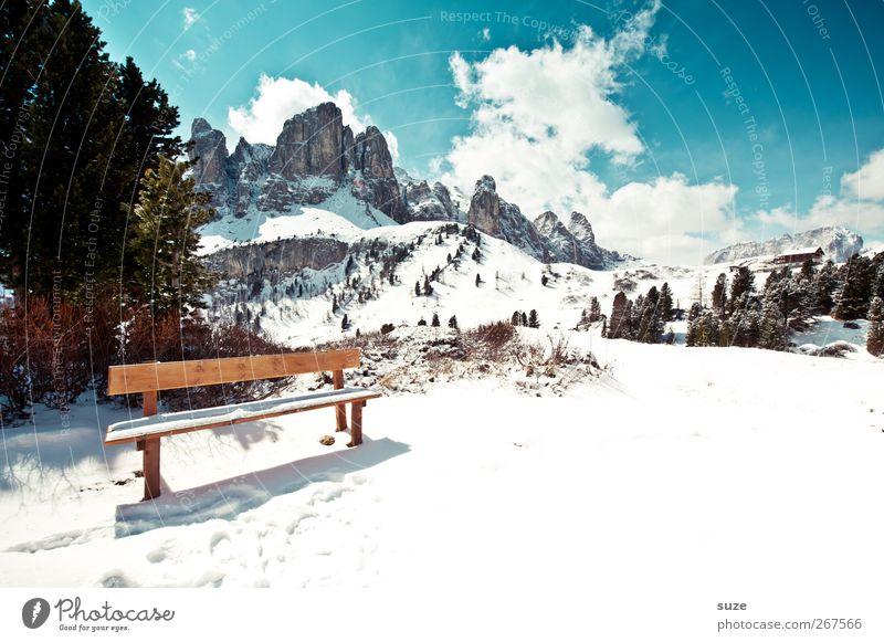 Sonnenbank Himmel Natur blau Ferien & Urlaub & Reisen Baum Pflanze Wolken Umwelt Landschaft Schnee Berge u. Gebirge Frühling Felsen Klima außergewöhnlich