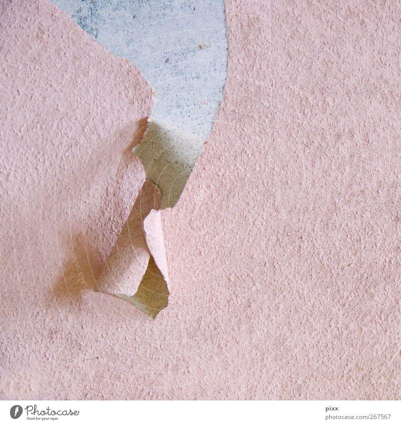 komische Locke alt Stadt Haus Wand Mauer rosa Beton Häusliches Leben Zukunft Papier trist fallen Vergangenheit Tapete Verfall hängen