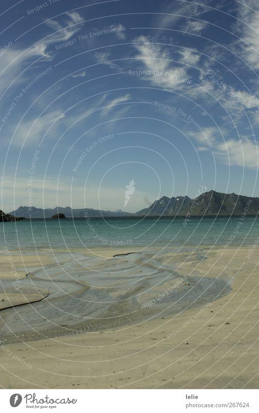 Hinein ins Glück Umwelt Natur Landschaft Sand Luft Wasser Himmel Wolken Sommer Schönes Wetter Wellen Küste Strand Fjord Meer Menschenleer blau braun weiß
