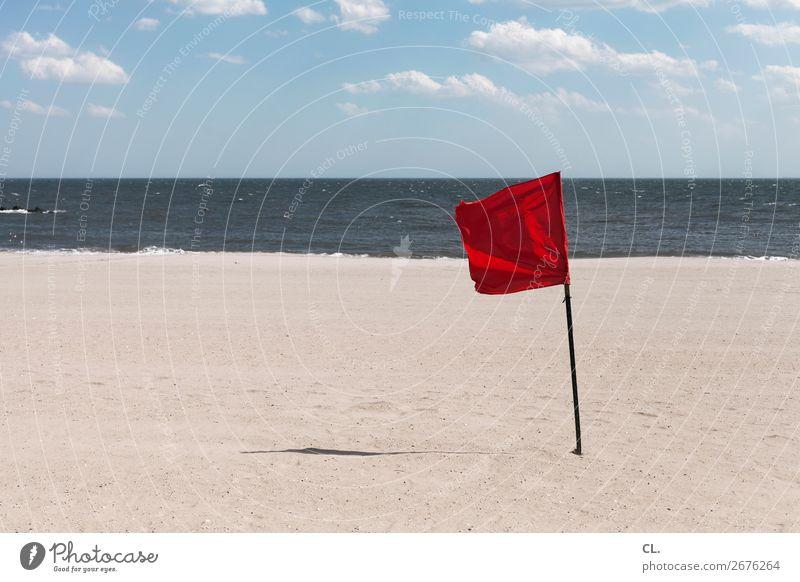 badeverbot Himmel Ferien & Urlaub & Reisen Natur Sommer Wasser rot Meer Wolken Ferne Strand Umwelt Tourismus Sand Ausflug Wetter Wind