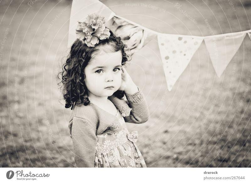 Looking pretty feminin Kind Kleinkind Mädchen Kindheit 1 Mensch 3-8 Jahre brünett krause Haare schön klein weich friedlich unschuldig Drarock Standarte