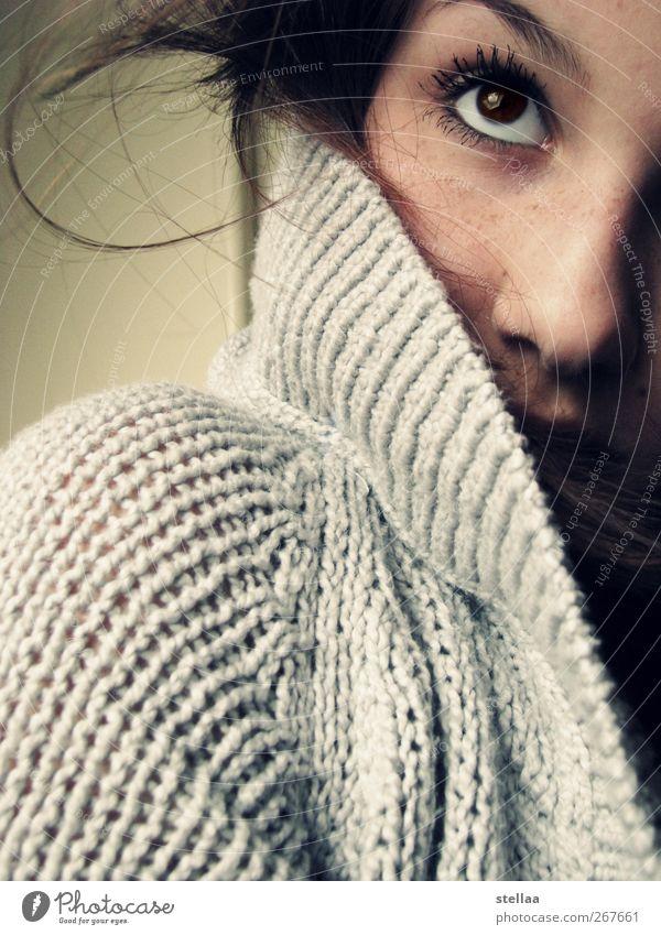 glance feminin Junge Frau Jugendliche Auge 1 Mensch Blick Schutz schön Farbfoto Innenaufnahme Tag Blick nach oben