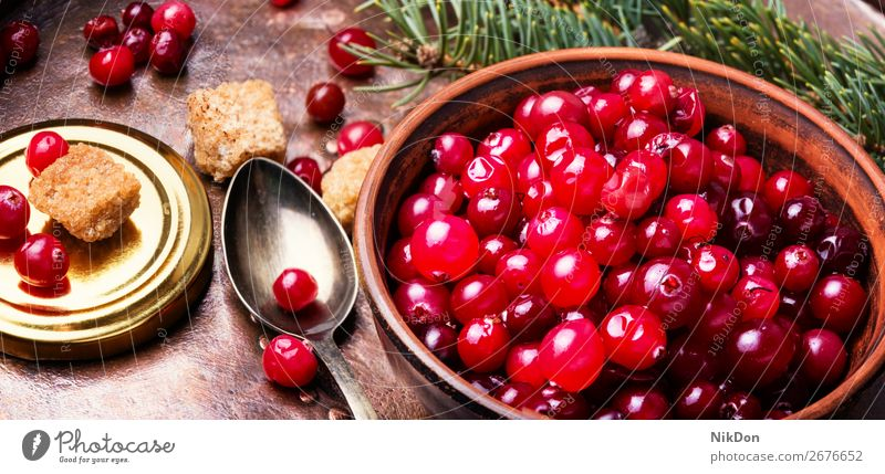 Frische Beeren Preiselbeeren Bestandteil Lebensmittel rot Frucht frisch reif saftig organisch Gesundheit Vitamin Herbst Vegetarier Haufen Makro roh
