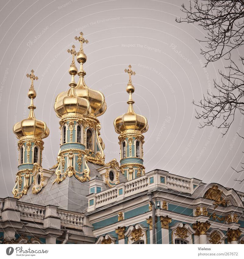 Zarenresidenz Architektur Park gold elegant Bauwerk Burg oder Schloss historisch Denkmal Wahrzeichen Sehenswürdigkeit Barock St. Petersburg Katharinenpalast
