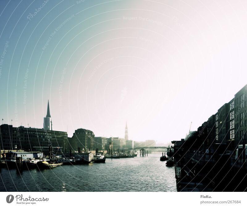 Binnenhafen/Zollkanal Wasser Himmel Wolkenloser Himmel Sonnenaufgang Sonnenuntergang Sonnenlicht Wellen Fluss Hamburg Deutschland Europa Stadt Hafenstadt