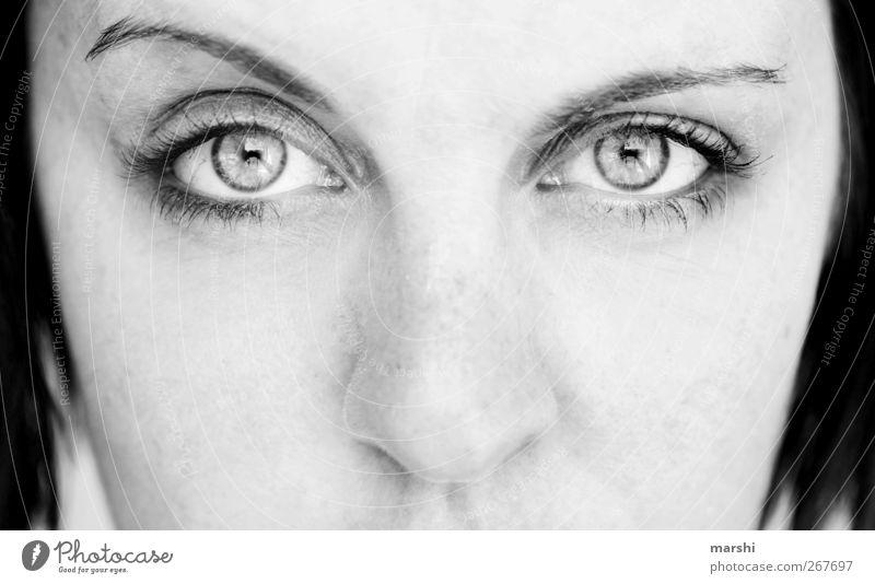 Blick ins neue Lebensjahr Mensch feminin Gesicht Auge Nase Gefühle Stimmung Augenbraue skeptisch Zweifel Schwarzweißfoto Außenaufnahme Tag