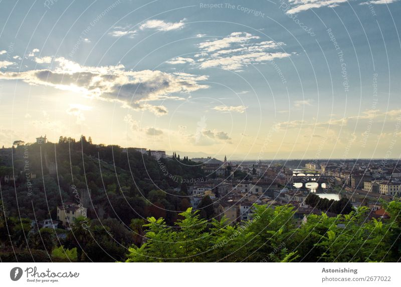 Stadt in der Abendsonne Umwelt Natur Landschaft Luft Himmel Wolken Horizont Sonne Sonnenaufgang Sonnenuntergang Wetter Pflanze Hügel Fluss Arno Florenz Italien