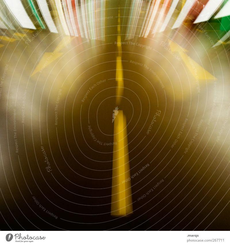 Bleifuß Verkehr Verkehrswege Straße Wege & Pfade Zeichen Schilder & Markierungen Linie Pfeil Streifen fahren Geschwindigkeit verrückt Euphorie Sicherheit