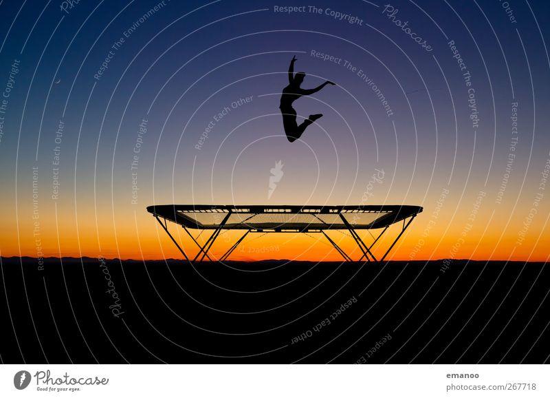 trampoline silhouette Mensch Frau Himmel Natur Jugendliche blau Ferien & Urlaub & Reisen Sonne Sommer Freude schwarz Erwachsene dunkel feminin Erotik Sport