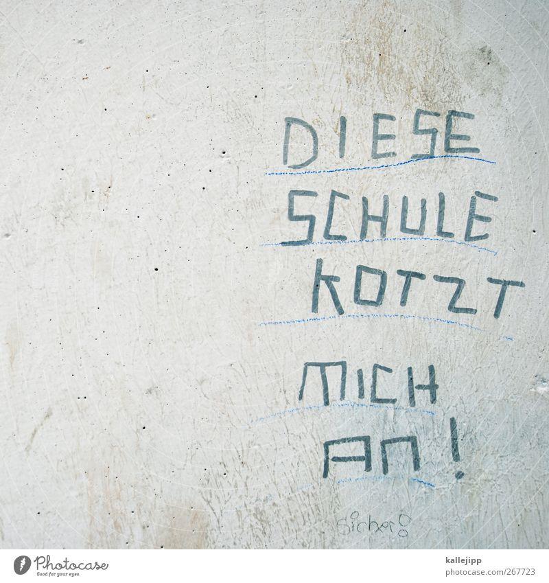 another brick in the wall Graffiti Wand Mauer Schule Schriftzeichen Studium lernen Schulgebäude Kommunizieren Bildung Zeichen Kindererziehung Hass Redewendung Straßenkunst Erbrechen