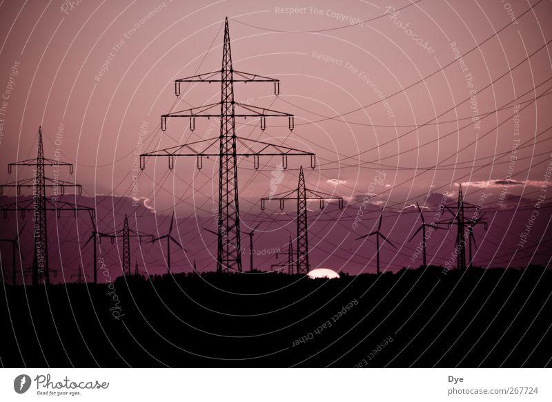 Energie in allen Variationen 2 Himmel Sonne Wolken Klima Energiewirtschaft Elektrizität Netzwerk Kabel violett Windkraftanlage Strommast ökologisch Umweltschutz