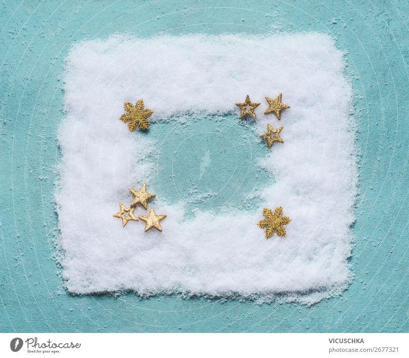 Schnee Rahmen mit Sterne on blauem Hintergrund kaufen Stil Design Winter Dekoration & Verzierung Party Veranstaltung Feste & Feiern Weihnachten & Advent trendy