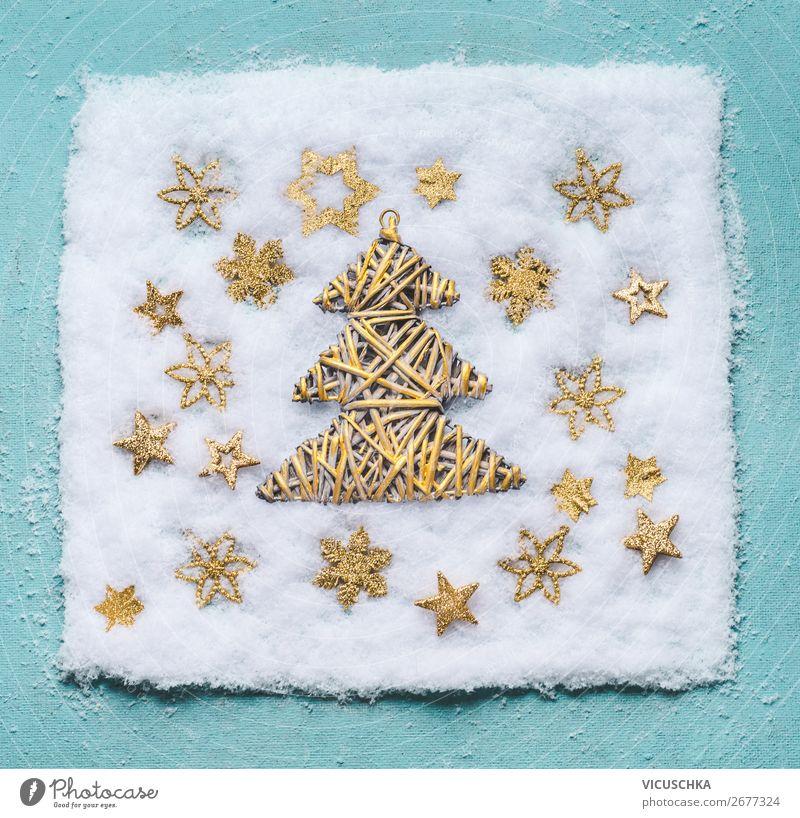 Weihnachtsbaum im Schnee mit goldenen Schneeflocken Stil Design Winter Dekoration & Verzierung Feste & Feiern Weihnachten & Advent Ornament trendy