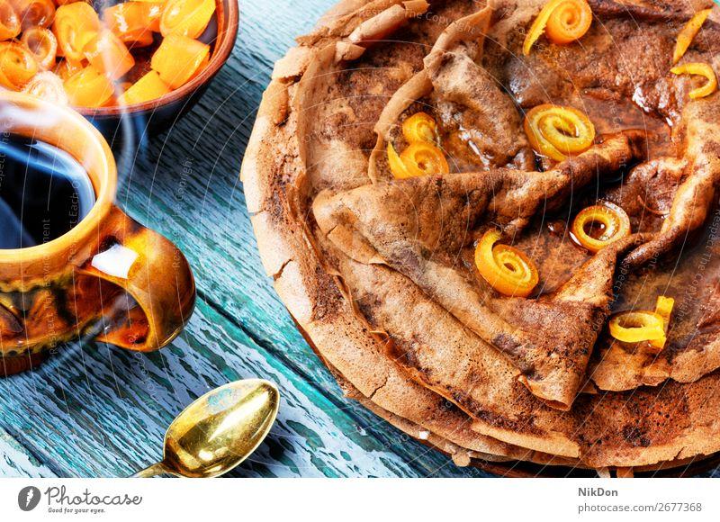 Pfannkuchen mit Marmelade Lebensmittel süß Frühstück Stapel Dessert Teller selbstgemacht Sirup gebacken Tisch Kuchen Amerikaner Bäckerei braun rund gebraten