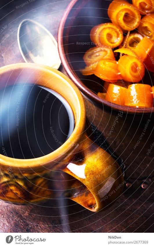 Orangenkonfitüre für Tee Konfiture orange Marmelade Lebensmittel süß Frühstück Dessert Tasse gelb trinken Löffel Zucker Götterspeise Frucht Getränk Konfekt