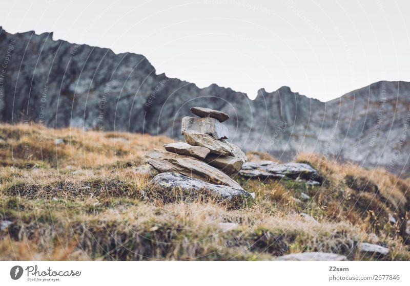 Steinmensch wandern Klettern Bergsteigen Natur Landschaft Herbst Schönes Wetter Gras Felsen Alpen Berge u. Gebirge hoch nachhaltig natürlich Idylle ruhig Umwelt