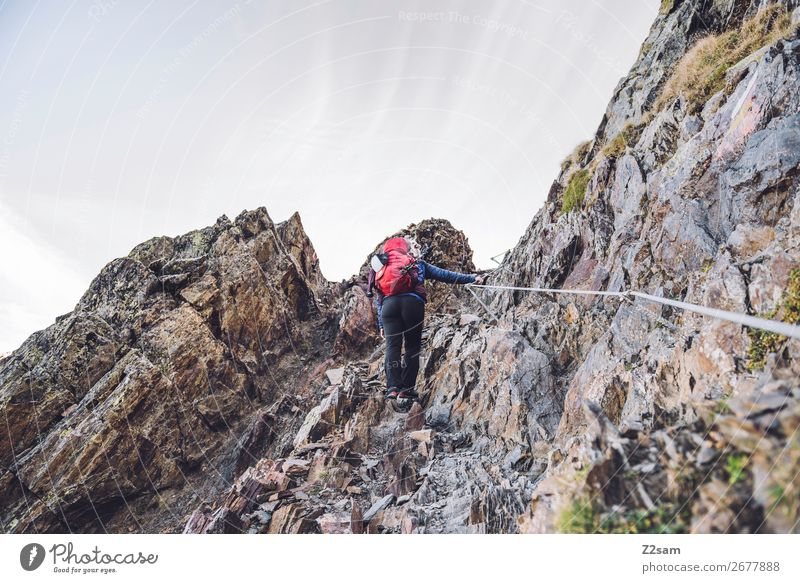 Junge Frau auf eiem Klettersteig Freizeit & Hobby Ferien & Urlaub & Reisen Expedition Berge u. Gebirge wandern Klettern Bergsteigen Jugendliche Umwelt Natur