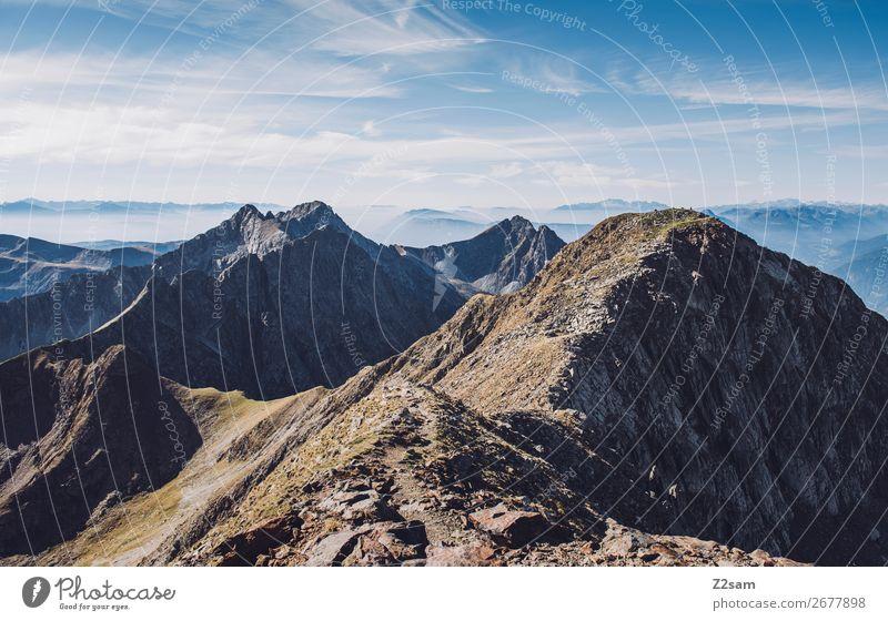 Südtiroler Alpen | Hirzer wandern Klettern Bergsteigen Natur Landschaft Himmel Wolken Sommer Schönes Wetter Berge u. Gebirge Gipfel gigantisch hoch nachhaltig