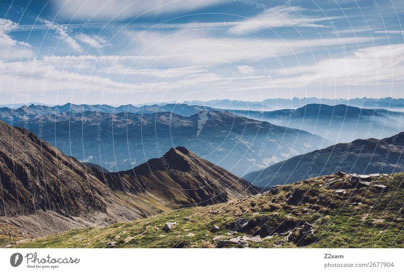 Panorama am Hirzer | Südtirol wandern Klettern Bergsteigen Umwelt Natur Landschaft Sommer Schönes Wetter Alpen Berge u. Gebirge Gipfel frisch hoch nachhaltig