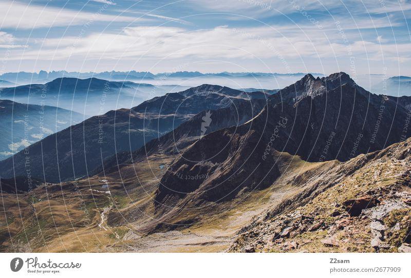 Gipfel des Hirzer | Südtirol wandern Klettern Bergsteigen Natur Landschaft Erde Schönes Wetter Alpen Berge u. Gebirge Ferne hoch natürlich blau grün Einsamkeit